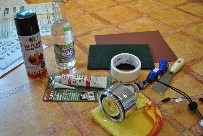 Как установить линзу в фару
