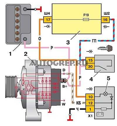 Схема проводки генератора на ваз 2110